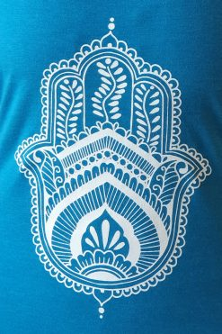 Oceanflow Yogawear Yoga Vest Top deep turquoise hamsa