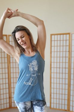 Oceanflow Yogawear Yoga Vest Top denim slub meditating mermaid