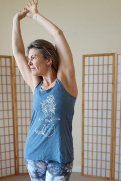 Oceanflow Yogawear Yoga Vest Top denim slub meditating mermaid