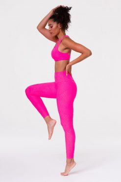 onzie selenite midi yoga leggings neon pink