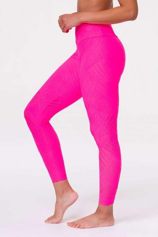 onzie selenite midi yoga leggings neon pink