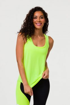 onzie glossy flow tank top neon yellow