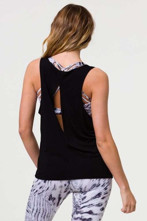 onzie slit back yoga tank top black