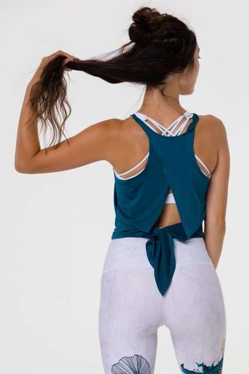 onzie tie back top teal green