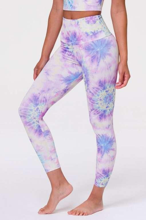 Onzie Midi Yoga Leggings Neon Tie Dye