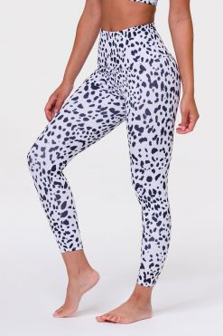 Onzie High Waist midi yoga leggings white cheetah