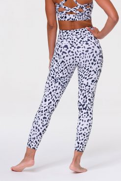 Onzie High Waist midi yoga leggings white cheetah