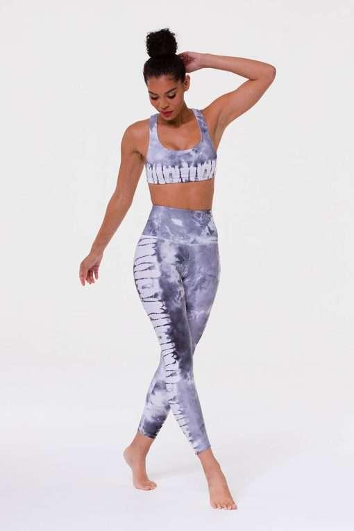 Onzie high rise graphic midi yoga leggings light grey tie dye