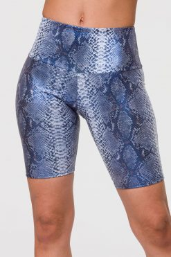 Onzie high rise biker shorts blue mambo