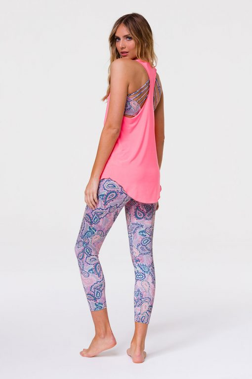 Onzie glossy flow yoga tank top neon coral