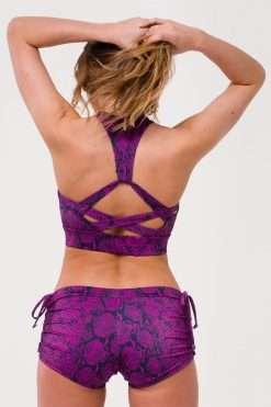 Onzie yoga shorts side tie ultra violet