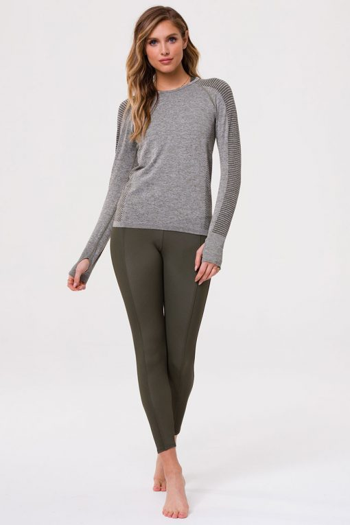 Onzie yoga Seamless Long Sleeve Top Olive Green