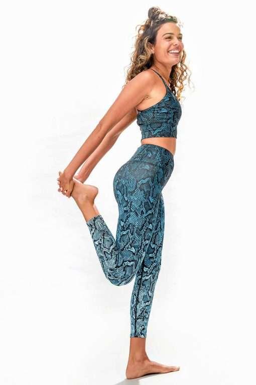 Dharma Bums RECYCLED eco midi Yoga Leggings Sea Snake
