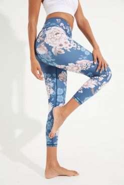 Dharma Bums RECYCLED eco midi Yoga Leggings Spring Garden