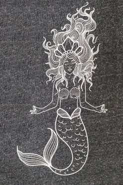 Oceanflow Yoga Wear Jumper Meditating Mermaid Charcoal Grey