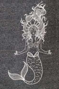 Oceanflow Yoga Wear Jumper Meditating Mermaid Charcoal Grey