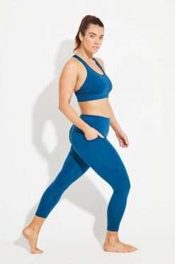 Dharma Bums Wonder Luxe Bondi Pocket midi Yoga Leggings - Emerald blue