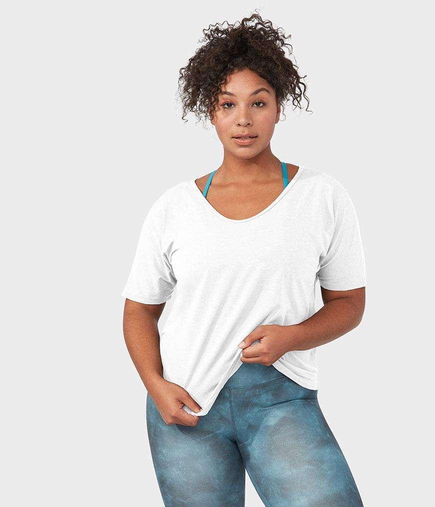 Manduka emlight relaxed yoga tee shirt white