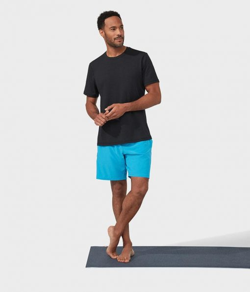 Manduka performance agility shorts mens yoga wear dresden blue