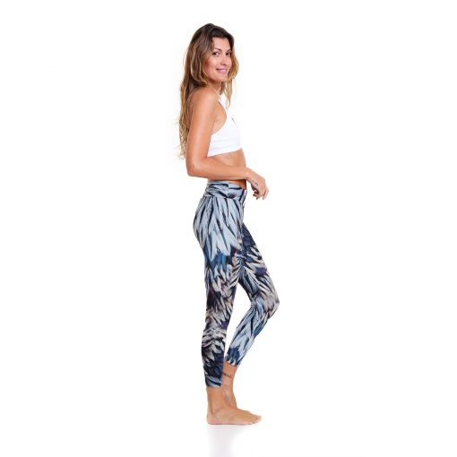 yoga pants liquido blue macaw leggings