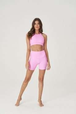 yoga biker shorts onzie bubblegum rib pink