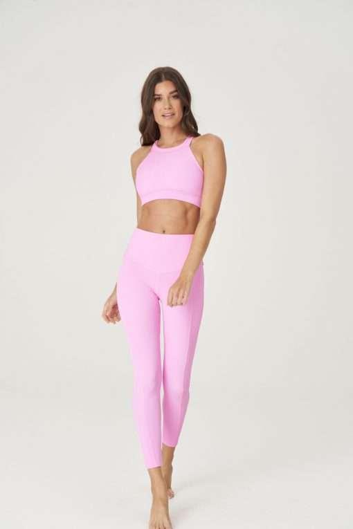 yoga sports bra onzie bubblegum rib pink