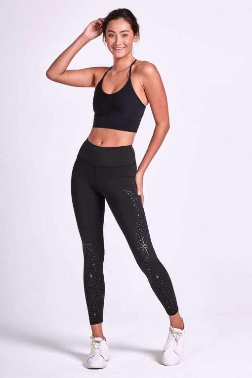 dharma bums full length yoga pants leggings dark star foil