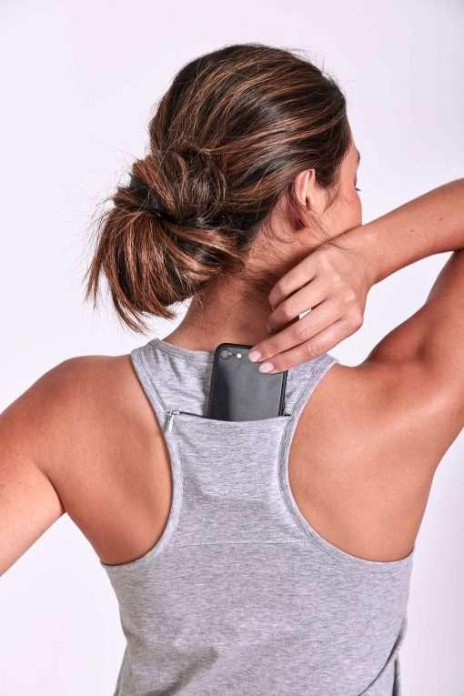 Dharma Bums yoga tank top phone pocket onyx grey