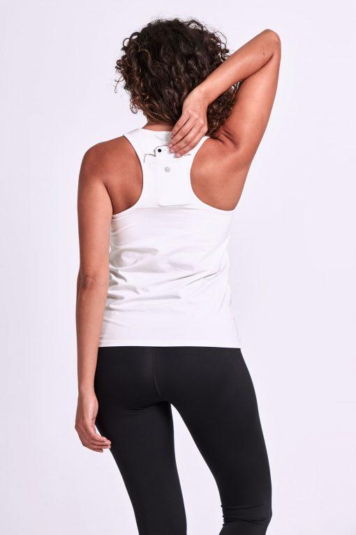Dharma Bums yoga tank top phone pocket onyx white